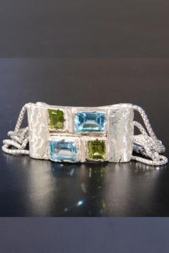 Bracelet Femme Argent Massif 925 avec Topazes et Peridots